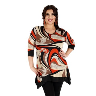 Firmiana Women's Plus Size Black Red 3/4 Sleeve Tunic with Sidetail