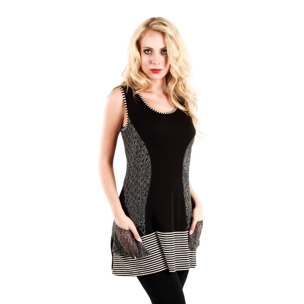 Firmiana Women's Sleeveless Black/ Grey Top