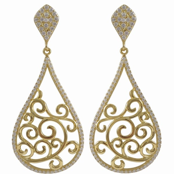 Sterling Silver Gold Finish Cubic Zirconia Filigree Teardrop Earrings