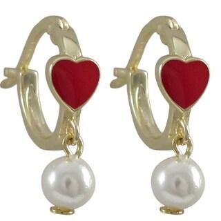 Sterling Silver Gold Finish Enamel Heart Faux Pearl Dangle Earrings