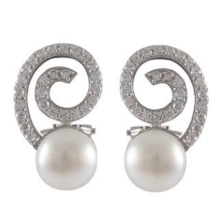 Sterling Silver Cubic Zirconia Spiral Freshwater Pearl Earrings