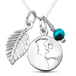 Sterling Silver Disc Leaf and Turquoise Bead Charm Necklace
