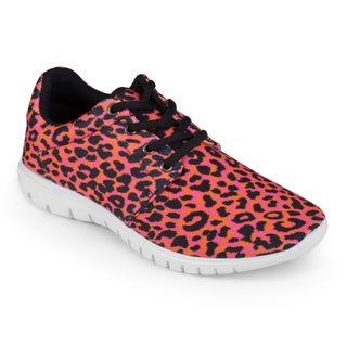 Journee Collection Women's 'Yew' Cheetah Print Lace-up Sneakers