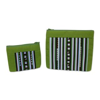 Set of 2 Cotton Blend 'Exotic Lisu in Green' Cosmetic Bags (Thailand)