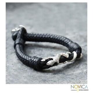 Men's Sterling Silver 'Iguana' Leather Bracelet (Mexico)