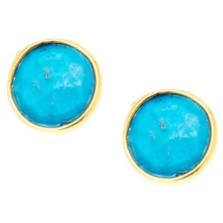 Pori 18k Goldplated Sterling Silver Round Bezel Turquoise Gemstone Stud Earrings