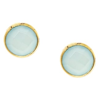 18k Goldplated Sterling Silver Round Bezel Sea Green Gemstone Stud Earrings