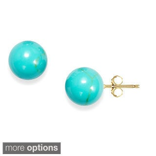 14k Gold Turquoise Ball Stud Earrings