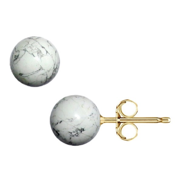 14k Gold White Onyx Ball Stud Earrings