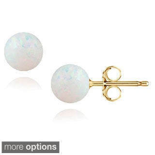 14k Gold Created White Opal Ball Stud Earrings