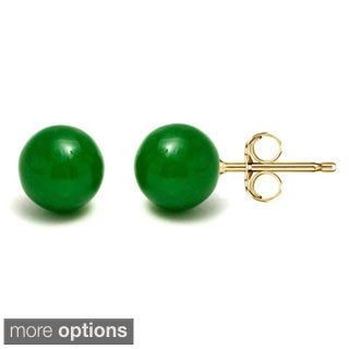 14k Gold Green Jade Ball Stud Earrings