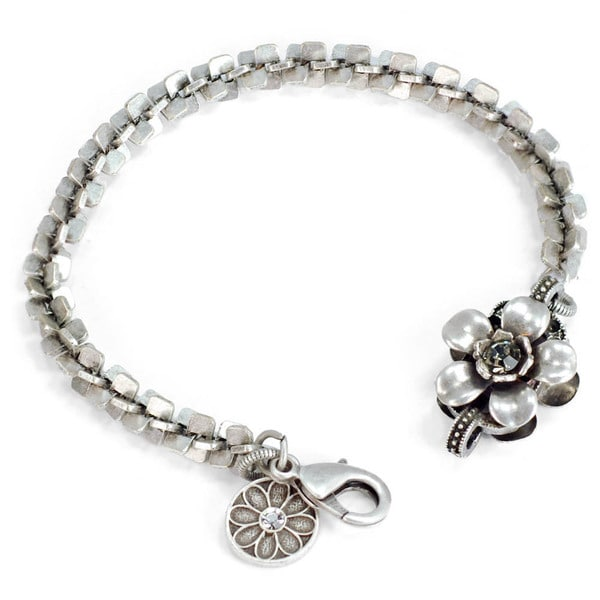 Sweet Romance Silver Retro Flower Bracelet