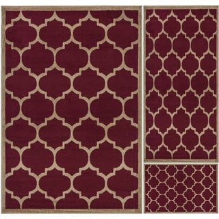 Paterson Collection Dark Red Moroccan Trellis 3-Piece Area Rug Set