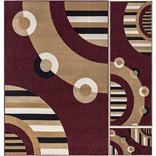 Ottomanson Paterson Collection Dark Red Circles 3-piece Area Rug Set