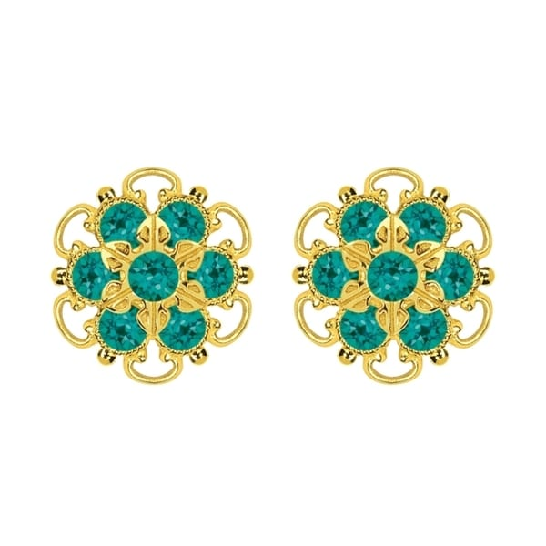 Lucia Costin Gold Over Sterling Silver Turquoise/ Green Crystal Stud Earrings 15409117
