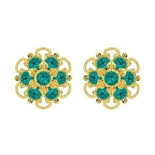 Lucia Costin Gold Over Sterling Silver Turquoise/ Green Crystal Stud Earrings