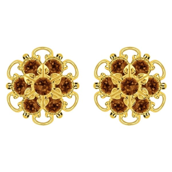Lucia Costin Gold Over Sterling Silver Brown Crystal Stud Earrings