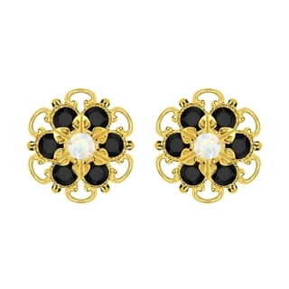 Lucia Costin Gold Over Sterling Silver White and Black Crystal Earrings