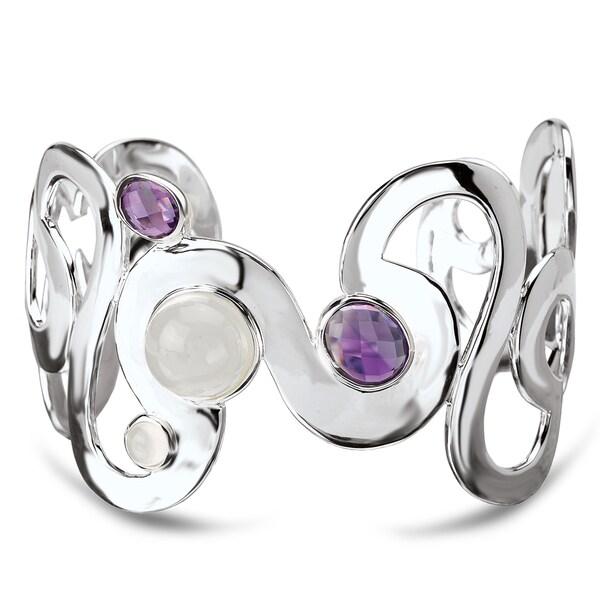Avanti Sterling Silver Moonstone and Amethyst Cuff Bracelet