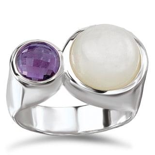 Avanti Sterling Silver Moonstone and Amethyst Ring