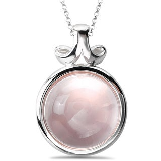 Avanti Sterling Silver Rose Quartz Cabochon Necklace