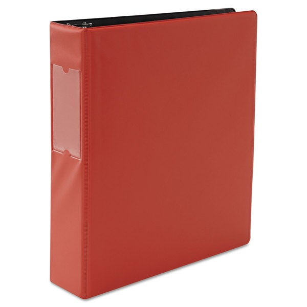 Universal Red Suede Finish Round Ring Binder With Label Holder (Pack of 4)