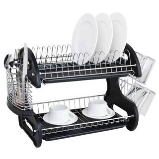 Sleek Contemporary Design 2-tier Black Dish Drainer