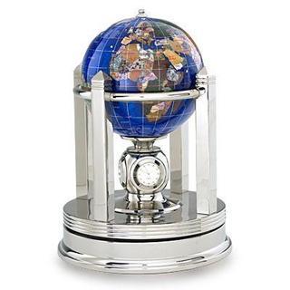 Galleon Caribbean Blue Gemstone Globe With Silver Rotating Base