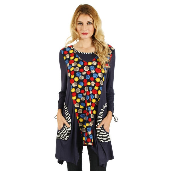 Firmiana Women's Long Sleeve Blue Multicolor Two Front Pocket Sidetail Top