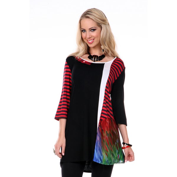 Firmiana Women's 3/4 Sleeve Black/ Red Stripe Top (Small)