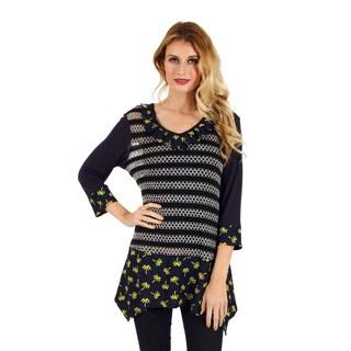 Firmiana Women's 3/4 Sleeve Blue Multi Color Crochet Top