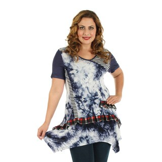 Firmiana Women's Plus Size Short Sleeve Blue Tie-Dye Top with Ruffles and Sidetail
