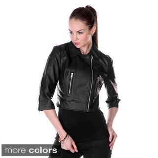 Firmiana Women's 3/4 Sleeve Crop Faux Leather Jacket