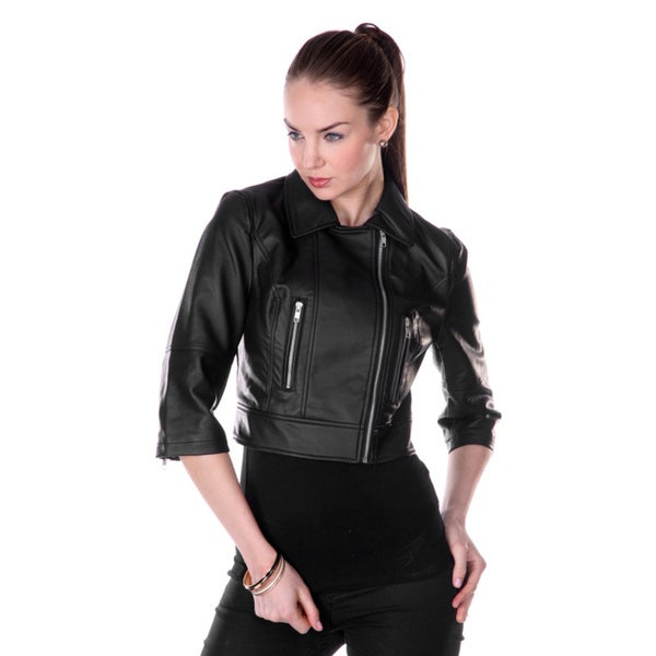 Firmiana Women's 3/4 Sleeve Crop Faux Leather Jacket