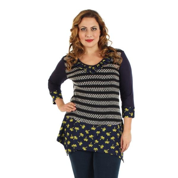 Firmiana Women's Plus Size 3/4 Sleeve Blue Multi Color Crochet Top