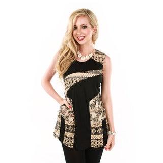Firmiana Women's Sleeveless Black/ Beige Top
