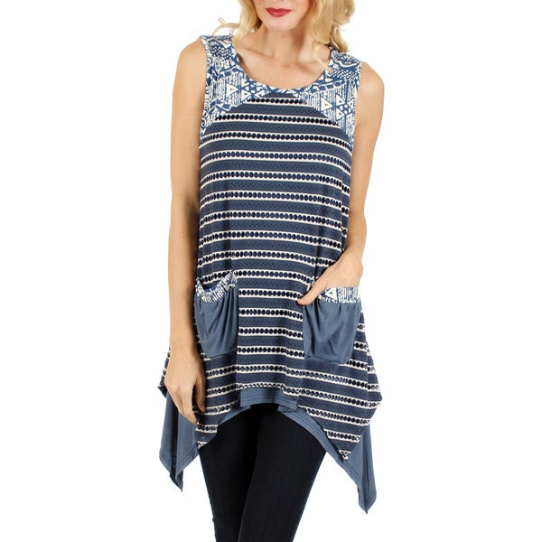 Firmiana Women's Sleeveless Blue Multi Top with Two Front Pocket and Layered Sidetail