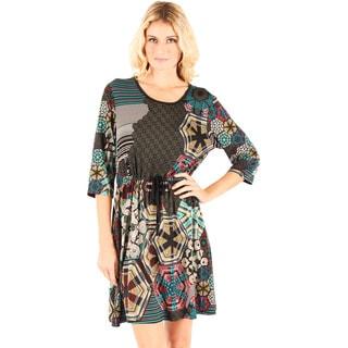 Firmiana Women's 3/4 Sleeve Multi Color Tie Waist Dress