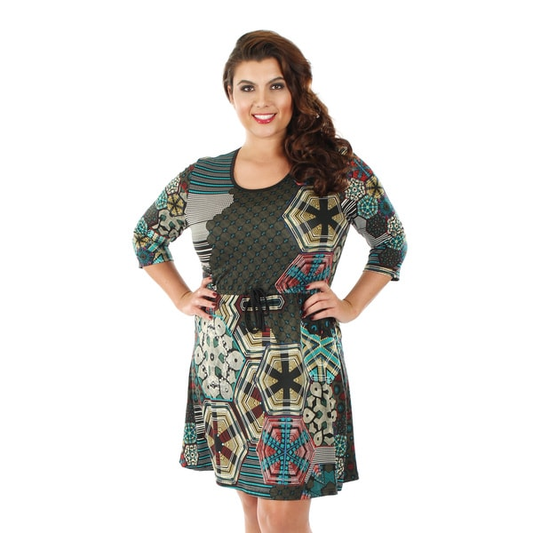 Firmiana Women's Plus Size 3/4 Sleeve Multi Color Tie Waist Dress