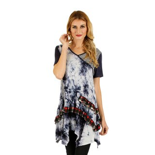 Firmiana Women's Short Sleeve Blue Tie-Dye Top with Ruffles and Sidetail