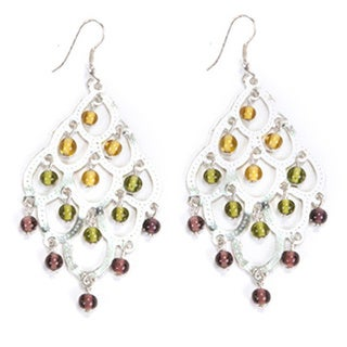 Multi-colored Glass Beads Silvertone Chandelier Earrings (India)