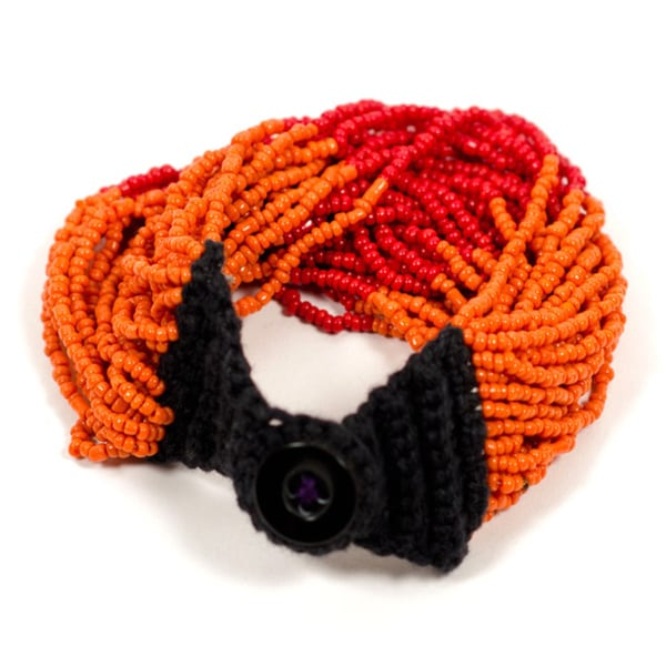 Izta Orange Multi-strand Wrap Bracelet (India)