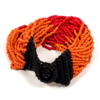 Izta Orange Multi-strand Wrap Bracelet (India)