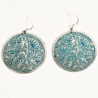 Padma Teal Medallion Earrings (India)