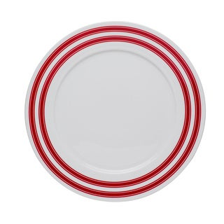 Race Stripe Red Rim 10.5-inch Dinner Plate (Set of 4)