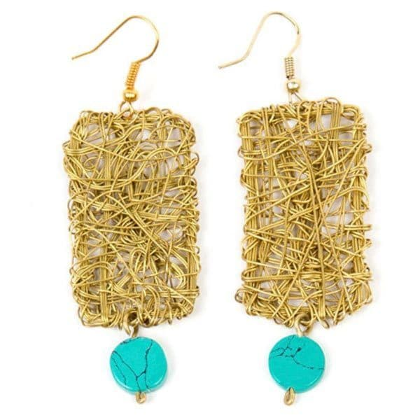 Turquoise Block Dangle Earrings (India)