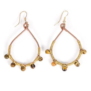 Amber Wire Dot Dangle Earrings (India)