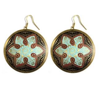 Tzolk'in Brass Medallion Earrings (India)