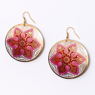 Tzolk'in Pink Floral Medallion Earrings (India)
