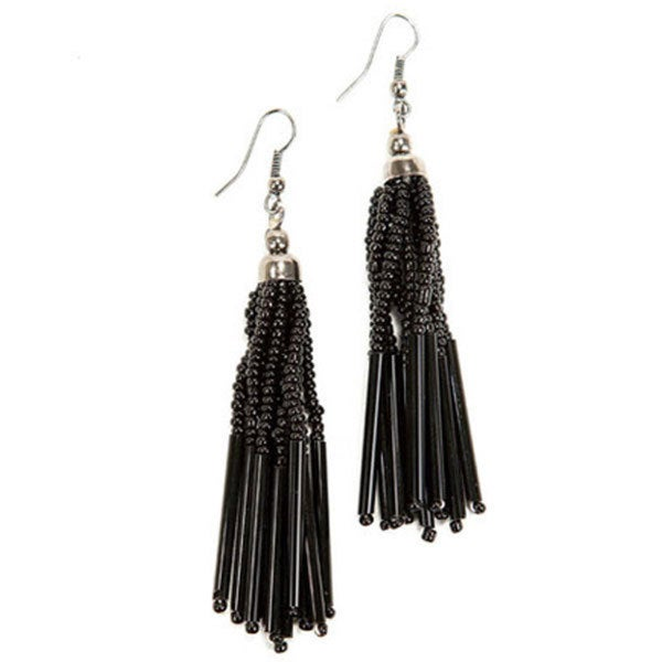 Black Tassel Striped Strand Bead Earrings (India)